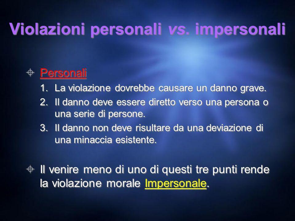 Violazioni personali vs. impersonali Personali 1.La violazione dovrebbe causare un danno grave. 2.Il danno deve essere diretto verso una persona o una