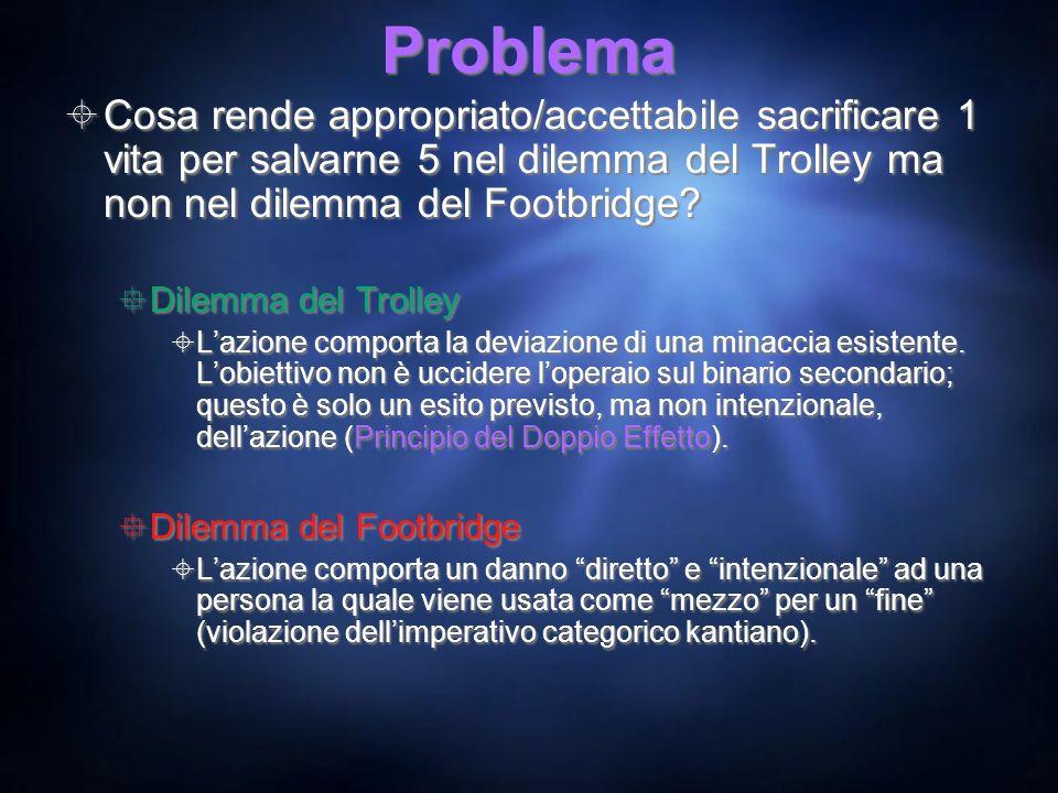 Problema Cosa rende appropriato/accettabile sacrificare 1 vita per salvarne 5 nel dilemma del Trolley ma non nel dilemma del Footbridge? Dilemma del T
