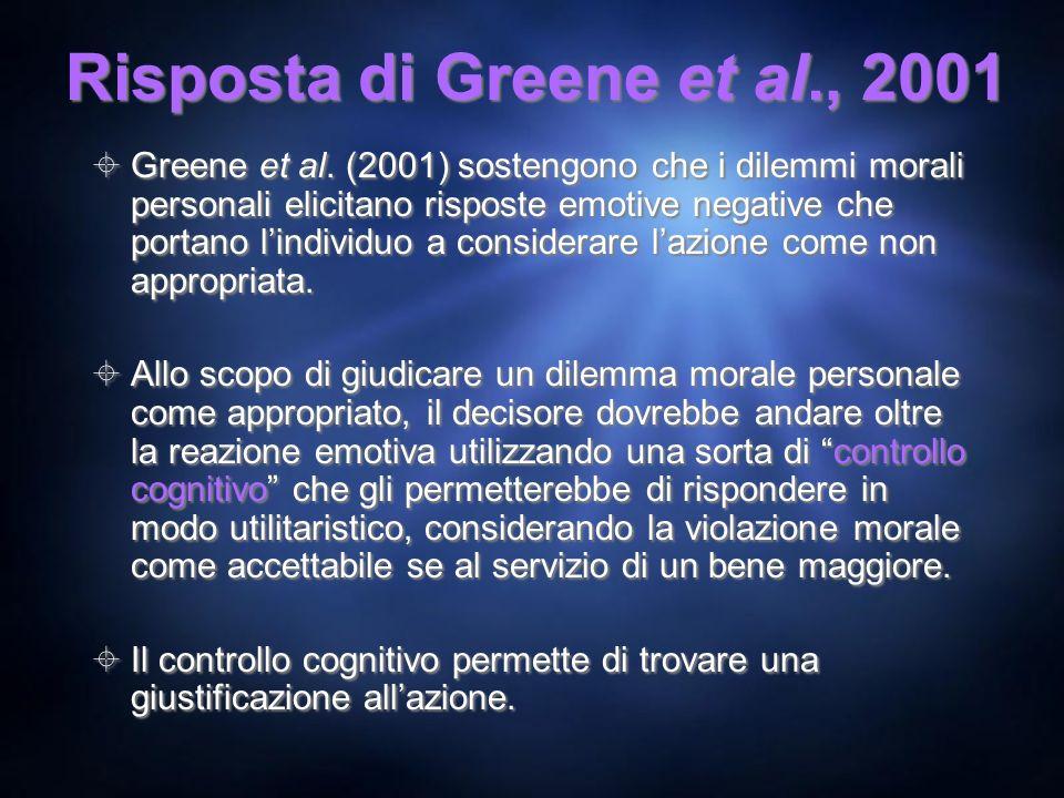 Risposta di Greene et al., 2001 Greene et al. (2001) sostengono che i dilemmi morali personali elicitano risposte emotive negative che portano lindivi