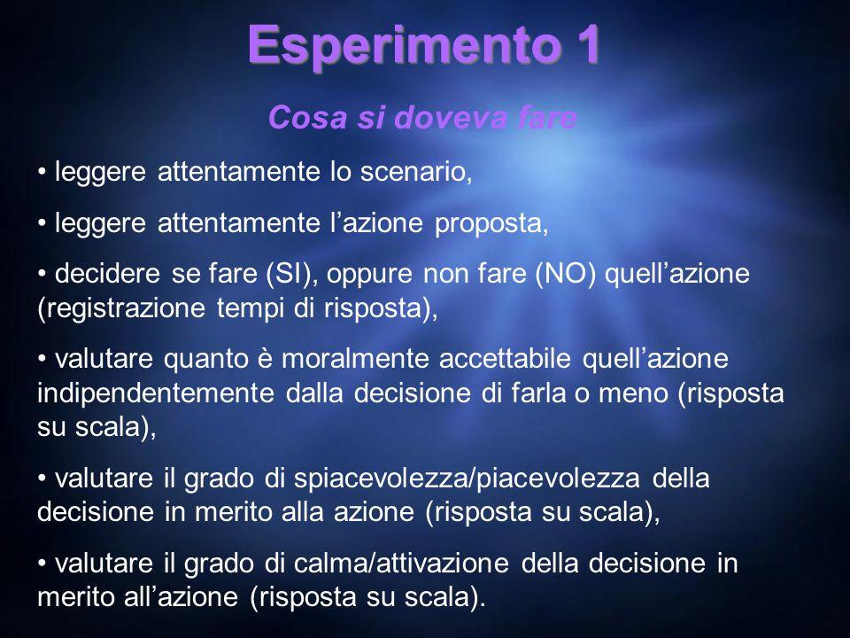 Esperimento 1 Cosa si doveva fare leggere attentamente lo scenario, leggere attentamente lazione proposta, decidere se fare (SI), oppure non fare (NO)