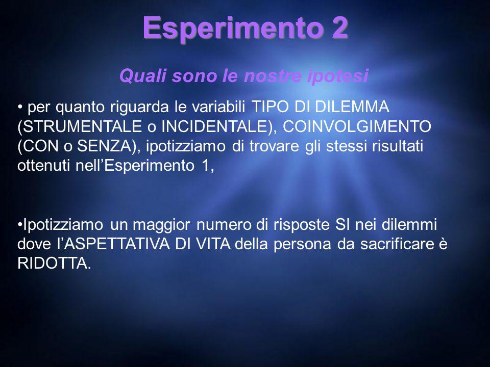 Esperimento 2 Quali sono le nostre ipotesi per quanto riguarda le variabili TIPO DI DILEMMA (STRUMENTALE o INCIDENTALE), COINVOLGIMENTO (CON o SENZA),