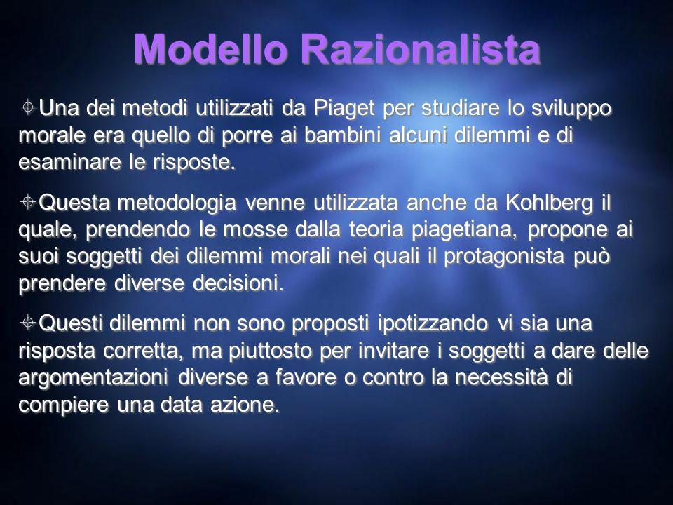 Modello Razionalista Una dei metodi utilizzati da Piaget per studiare lo sviluppo morale era quello di porre ai bambini alcuni dilemmi e di esaminare