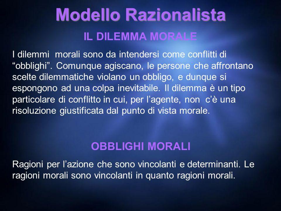 Modello Razionalista IL DILEMMA MORALE I dilemmi morali sono da intendersi come conflitti di obblighi. Comunque agiscano, le persone che affrontano sc