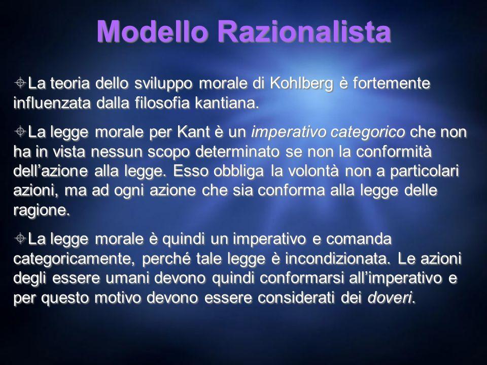 Modello Razionalista La teoria dello sviluppo morale di Kohlberg è fortemente influenzata dalla filosofia kantiana. La legge morale per Kant è un impe
