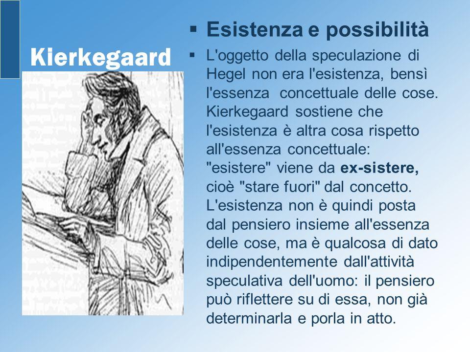 Kierkegaard Esistenza e possibilità L'oggetto della speculazione di Hegel non era l'esistenza, bensì l'essenza concettuale delle cose. Kierkegaard sos