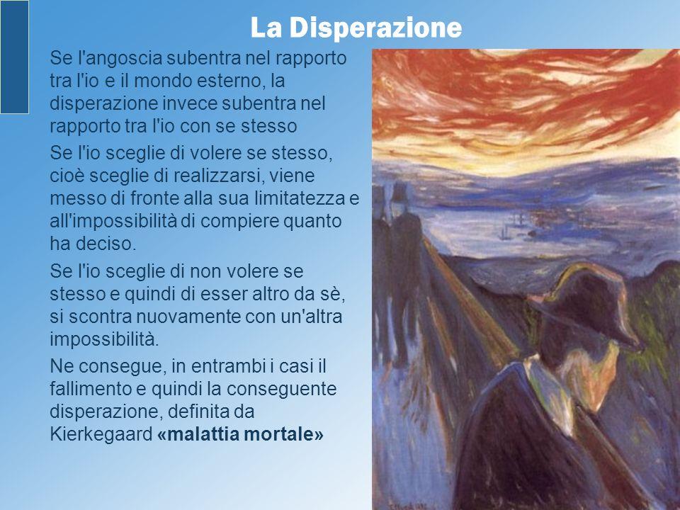 La Disperazione Se l'angoscia subentra nel rapporto tra l'io e il mondo esterno, la disperazione invece subentra nel rapporto tra l'io con se stesso S