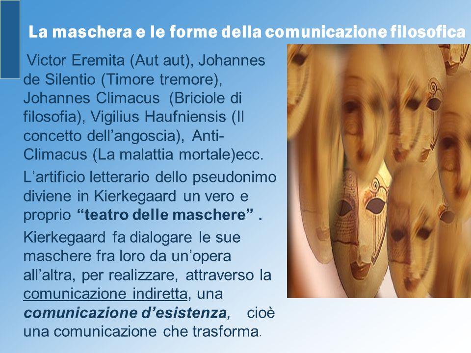 La maschera e le forme della comunicazione filosofica Victor Eremita (Aut aut), Johannes de Silentio (Timore tremore), Johannes Climacus (Briciole di