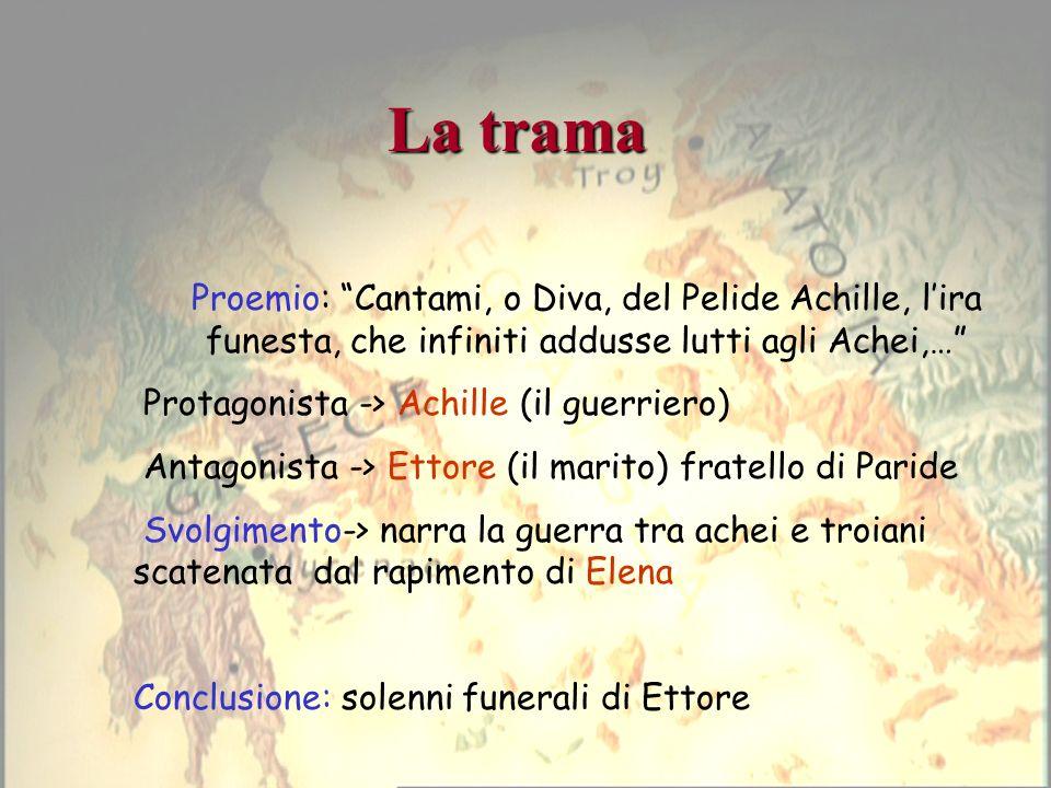 La trama Proemio: Cantami, o Diva, del Pelide Achille, lira funesta, che infiniti addusse lutti agli Achei,… Protagonista -> Achille (il guerriero) An