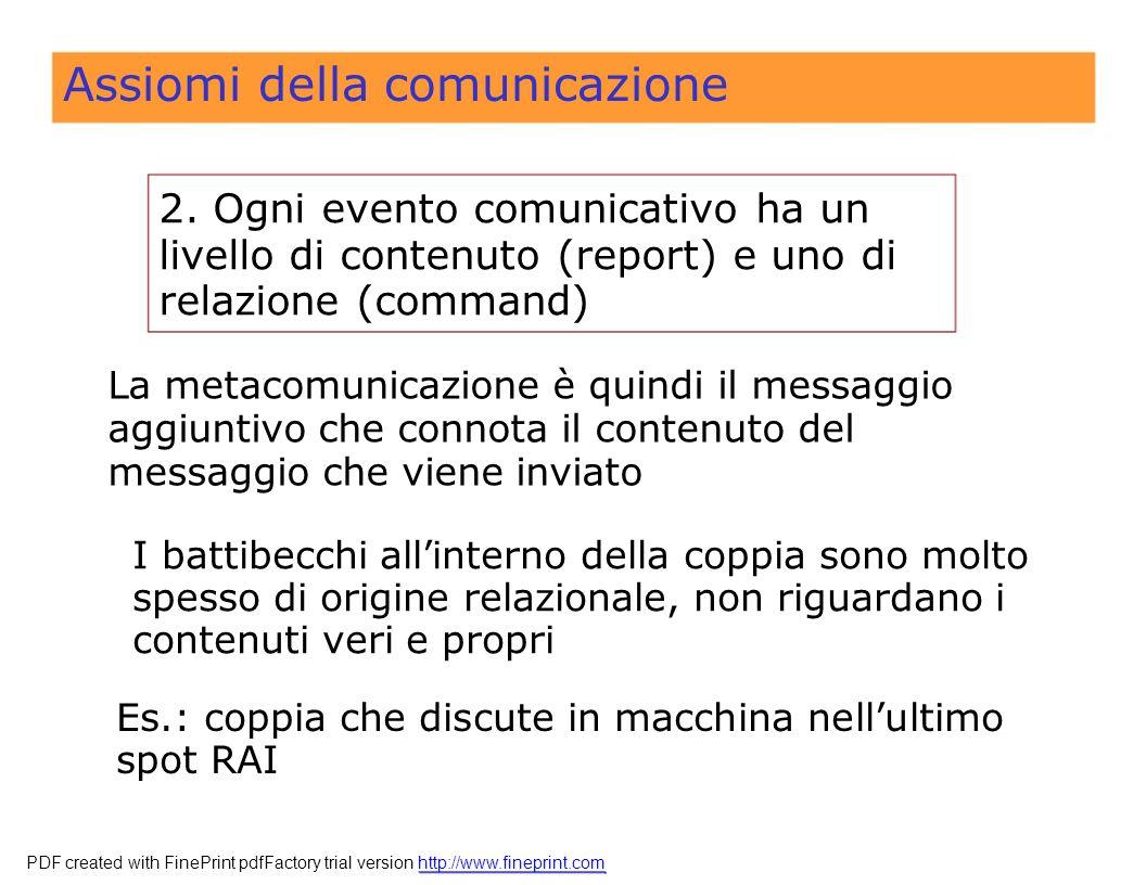 Assiomi della comunicazione 2.