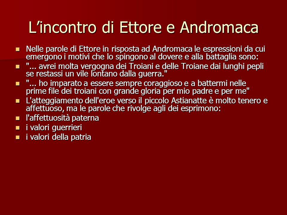 Lincontro di Ettore e Andromaca Nelle parole di Ettore in risposta ad Andromaca le espressioni da cui emergono i motivi che lo spingono al dovere e al