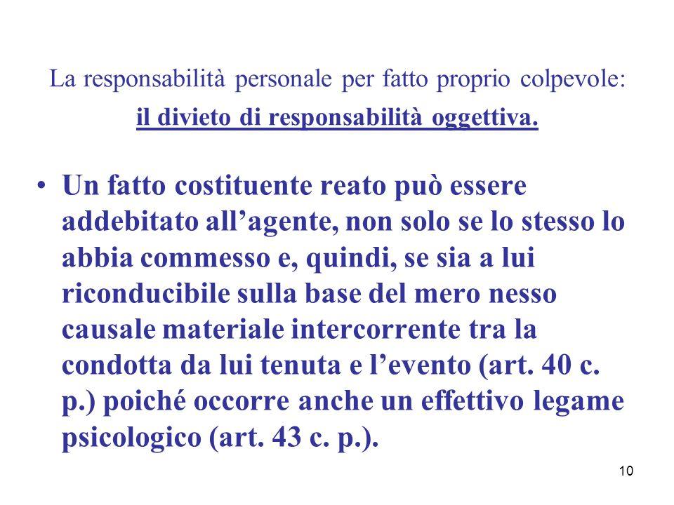 10 La responsabilità personale per fatto proprio colpevole: il divieto di responsabilità oggettiva. Un fatto costituente reato può essere addebitato a