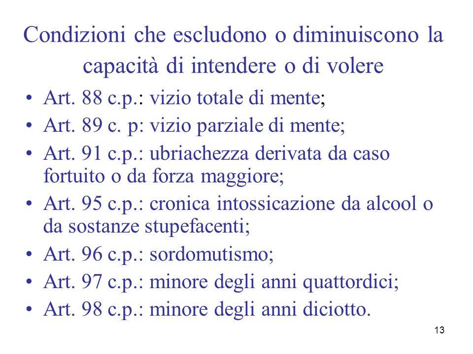 13 Condizioni che escludono o diminuiscono la capacità di intendere o di volere Art. 88 c.p.: vizio totale di mente; Art. 89 c. p: vizio parziale di m
