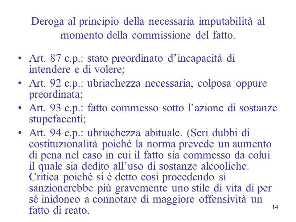 14 Deroga al principio della necessaria imputabilità al momento della commissione del fatto. Art. 87 c.p.: stato preordinato dincapacità di intendere
