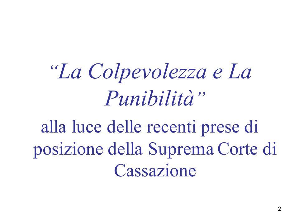 2 La Colpevolezza e La Punibilità alla luce delle recenti prese di posizione della Suprema Corte di Cassazione