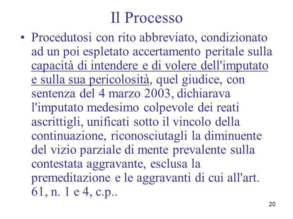 20 Il Processo Procedutosi con rito abbreviato, condizionato ad un poi espletato accertamento peritale sulla capacità di intendere e di volere dell'im