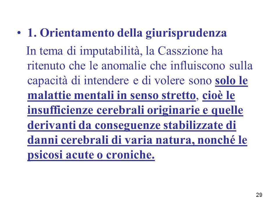 29 1. Orientamento della giurisprudenza In tema di imputabilità, la Casszione ha ritenuto che le anomalie che influiscono sulla capacità di intendere