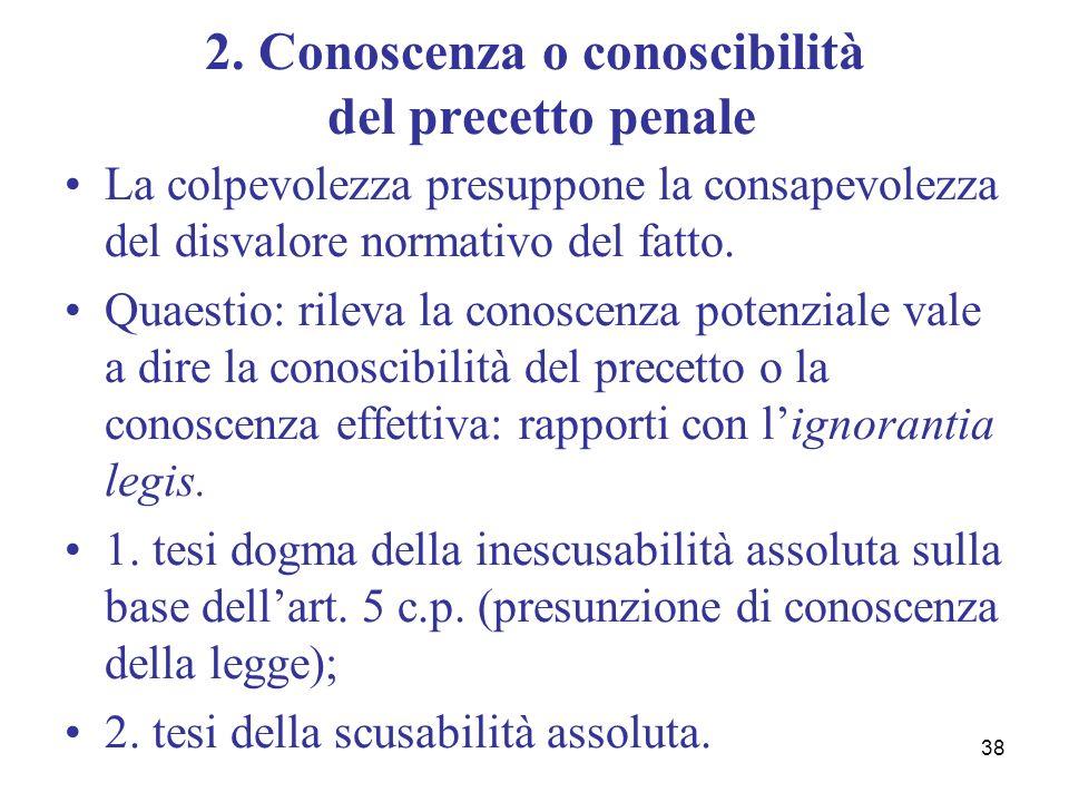 38 2. Conoscenza o conoscibilità del precetto penale La colpevolezza presuppone la consapevolezza del disvalore normativo del fatto. Quaestio: rileva