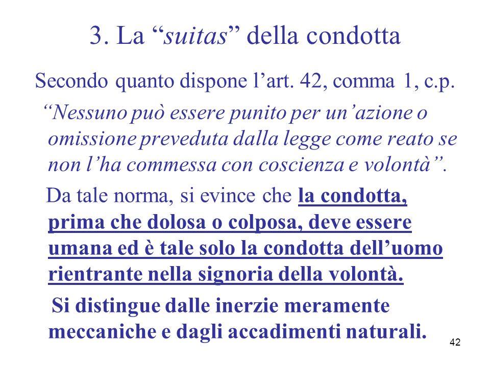 42 3. La suitas della condotta Secondo quanto dispone lart. 42, comma 1, c.p. Nessuno può essere punito per unazione o omissione preveduta dalla legge