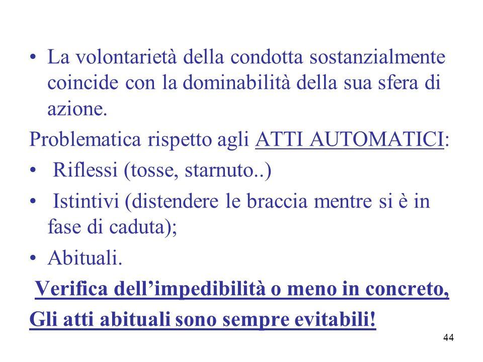 44 La volontarietà della condotta sostanzialmente coincide con la dominabilità della sua sfera di azione. Problematica rispetto agli ATTI AUTOMATICI: