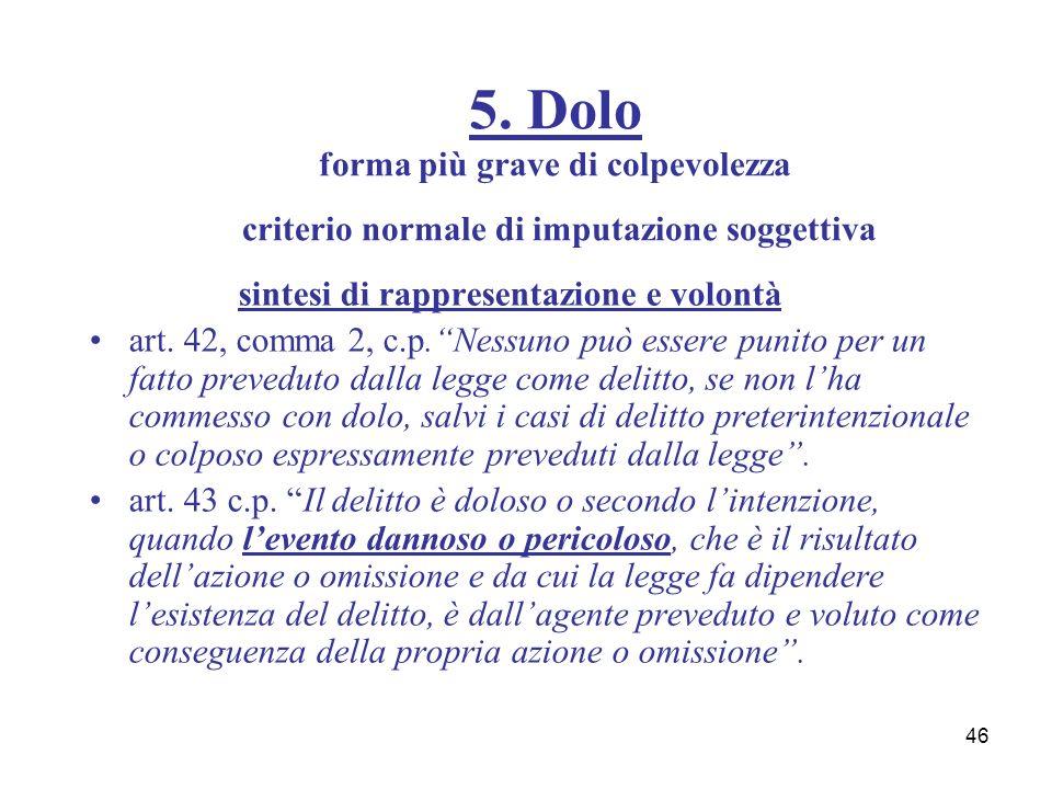 46 sintesi di rappresentazione e volontà art. 42, comma 2, c.p.Nessuno può essere punito per un fatto preveduto dalla legge come delitto, se non lha c