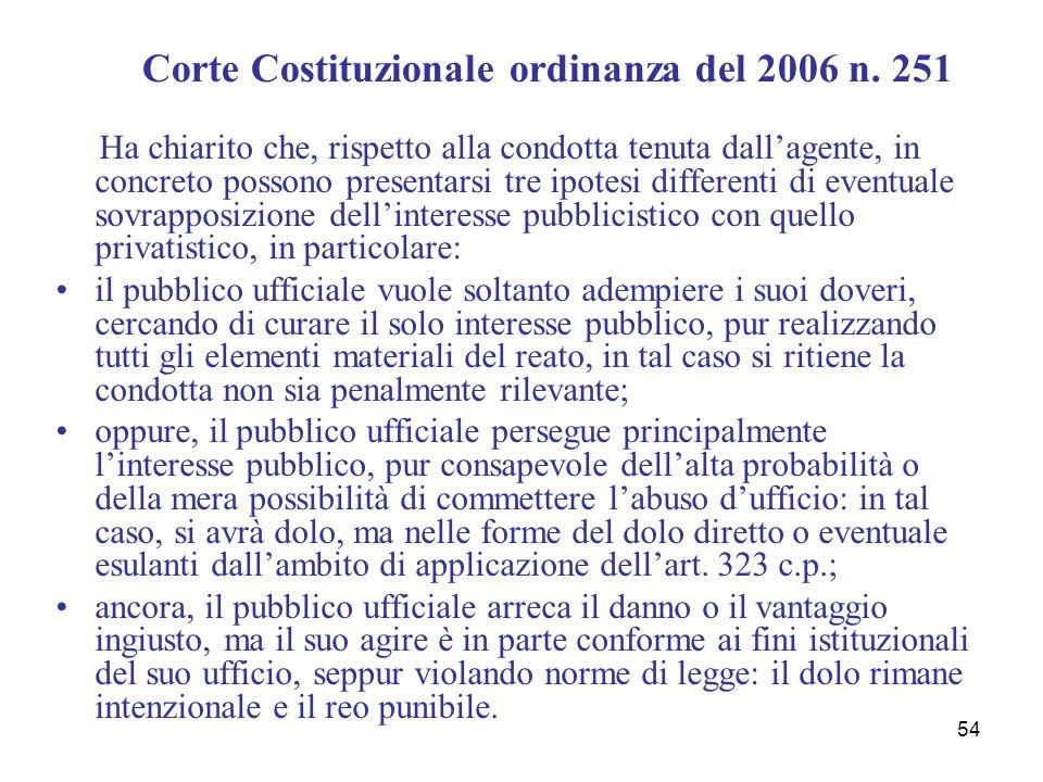 54 Corte Costituzionale ordinanza del 2006 n. 251 Ha chiarito che, rispetto alla condotta tenuta dallagente, in concreto possono presentarsi tre ipote