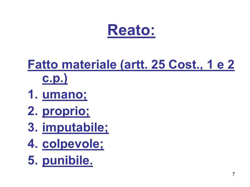 7 Reato: Fatto materiale (artt. 25 Cost., 1 e 2 c.p.) 1.umano; 2.proprio; 3.imputabile; 4.colpevole; 5.punibile.