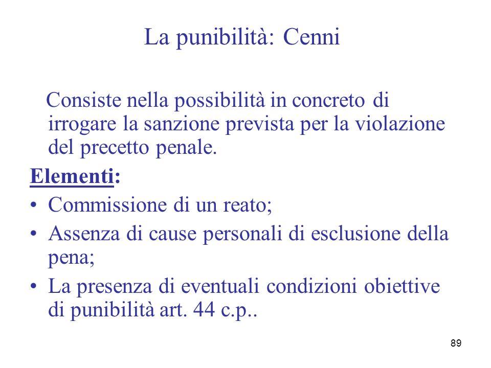 89 La punibilità: Cenni Consiste nella possibilità in concreto di irrogare la sanzione prevista per la violazione del precetto penale. Elementi: Commi