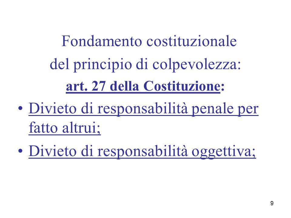 9 Fondamento costituzionale del principio di colpevolezza: art. 27 della Costituzione: Divieto di responsabilità penale per fatto altrui; Divieto di r