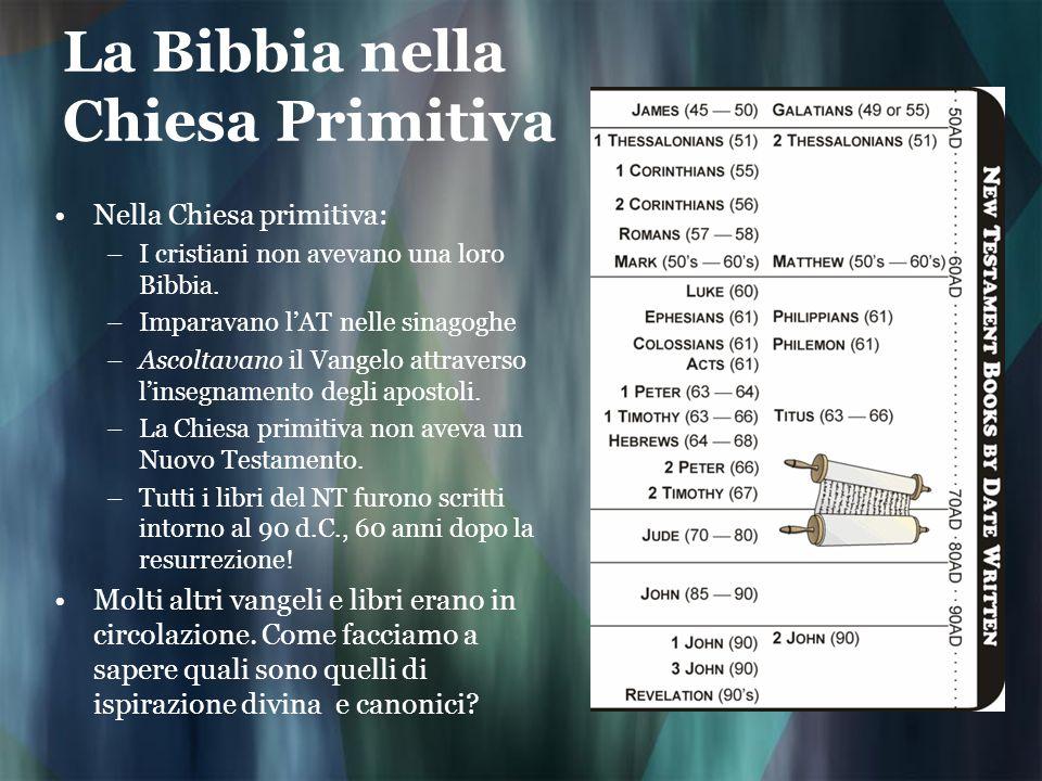 La Bibbia nella Chiesa Primitiva Nella Chiesa primitiva: –I cristiani non avevano una loro Bibbia. –Imparavano lAT nelle sinagoghe –Ascoltavano il Van