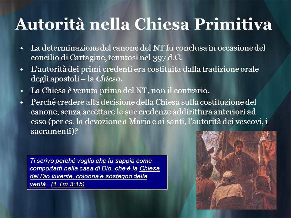 Autorità nella Chiesa Primitiva La determinazione del canone del NT fu conclusa in occasione del concilio di Cartagine, tenutosi nel 397 d.C. Lautorit