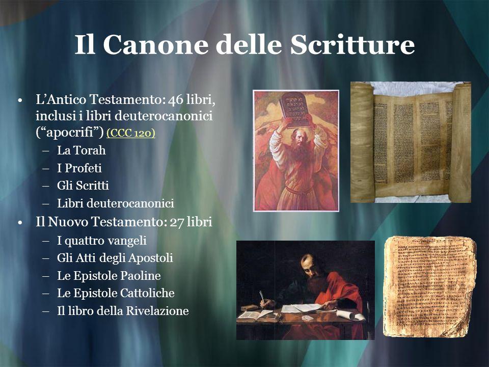 Il Canone delle Scritture LAntico Testamento: 46 libri, inclusi i libri deuterocanonici (apocrifi) (CCC 120) (CCC 120) –La Torah –I Profeti –Gli Scrit