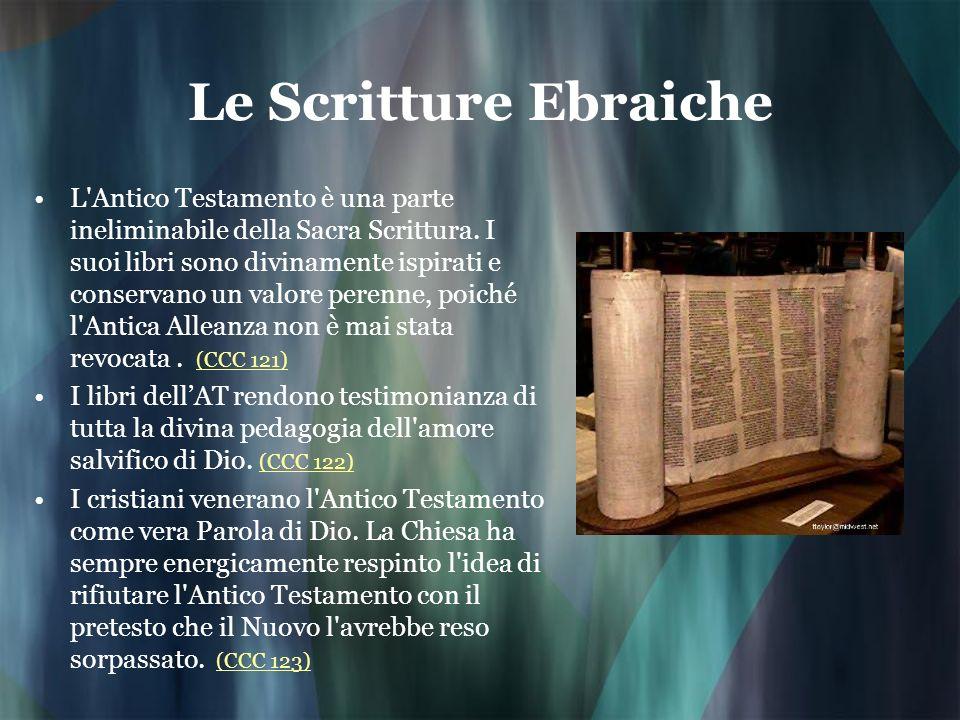 Le Scritture Ebraiche L'Antico Testamento è una parte ineliminabile della Sacra Scrittura. I suoi libri sono divinamente ispirati e conservano un valo
