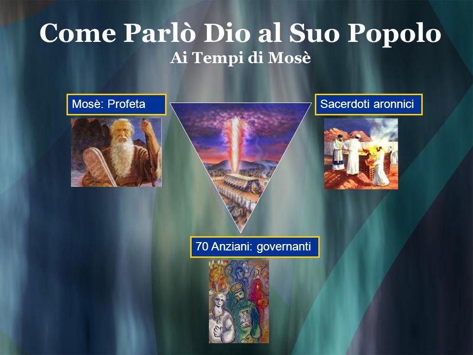 Come Parlò Dio al Suo Popolo Ai Tempi di Mosè Mosè: ProfetaSacerdoti aronnici 70 Anziani: governanti