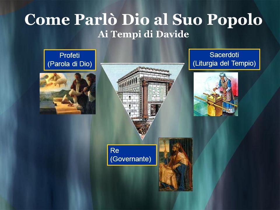 Come Parlò Dio al Suo Popolo Ai Tempi di Davide Profeti (Parola di Dio) Sacerdoti (Liturgia del Tempio) Re (Governante)