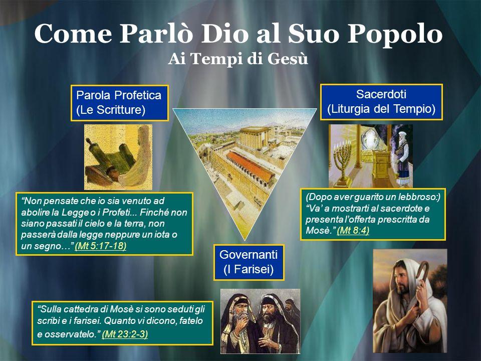 Come Parlò Dio al Suo Popolo Ai Tempi di Gesù Parola Profetica (Le Scritture) Sacerdoti (Liturgia del Tempio) Governanti (I Farisei) Sulla cattedra di