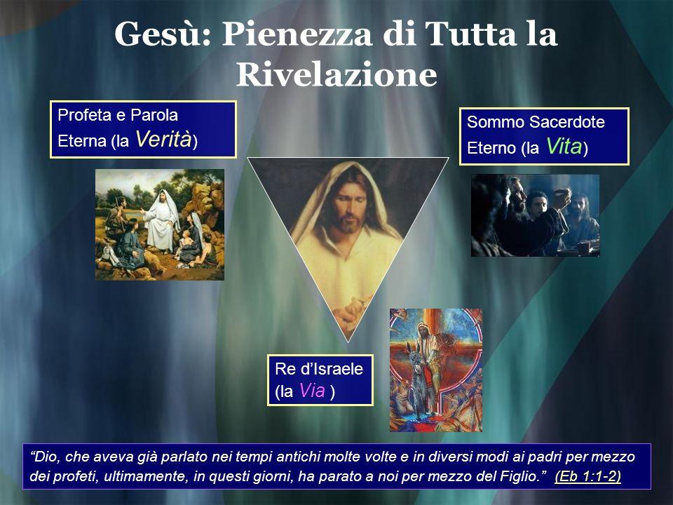 Gesù: Pienezza di Tutta la Rivelazione Profeta e Parola Eterna (la Verità ) Sommo Sacerdote Eterno (la Vita ) Re dIsraele (la Via ) Dio, che aveva già