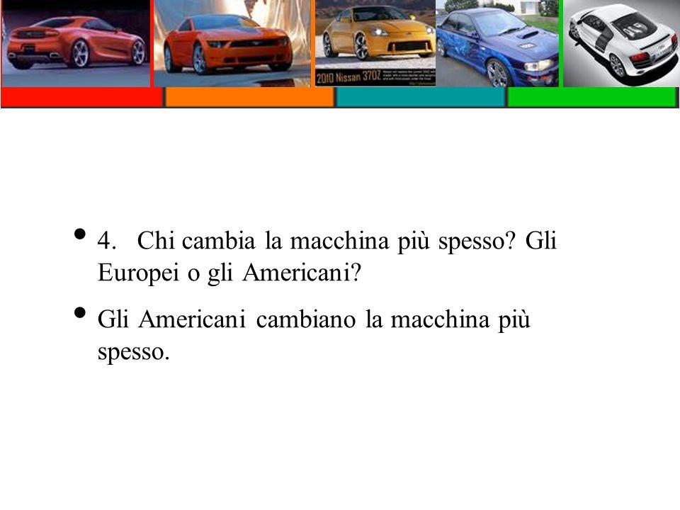 4.Chi cambia la macchina più spesso? Gli Europei o gli Americani? Gli Americani cambiano la macchina più spesso.