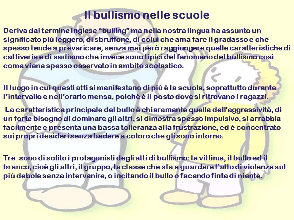 17 Il bullismo nelle scuole Deriva dal termine inglese bulling ma nella nostra lingua ha assunto un significato più leggero, di sbruffone, di colui ch