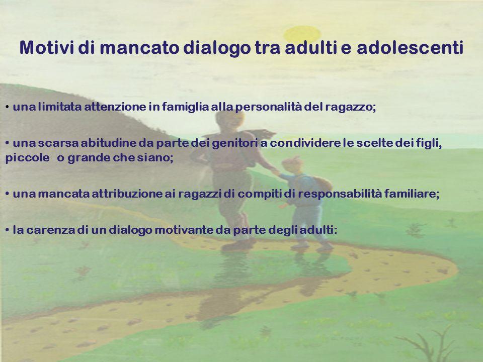 19 Motivi di mancato dialogo tra adulti e adolescenti una limitata attenzione in famiglia alla personalità del ragazzo; una scarsa abitudine da parte