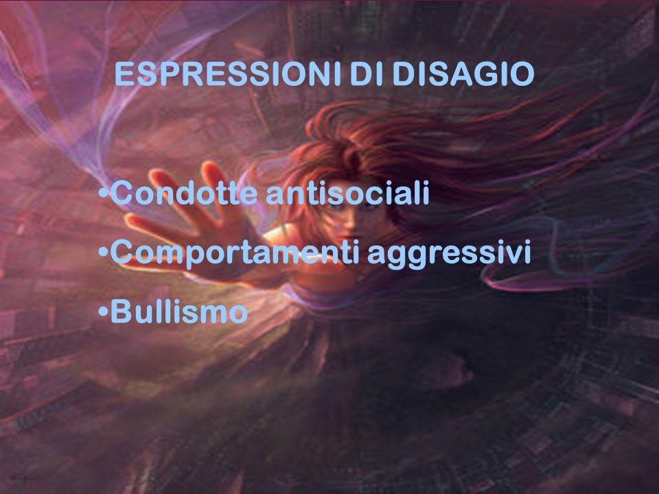 24 ESPRESSIONI DI DISAGIO Condotte antisociali Comportamenti aggressivi Bullismo