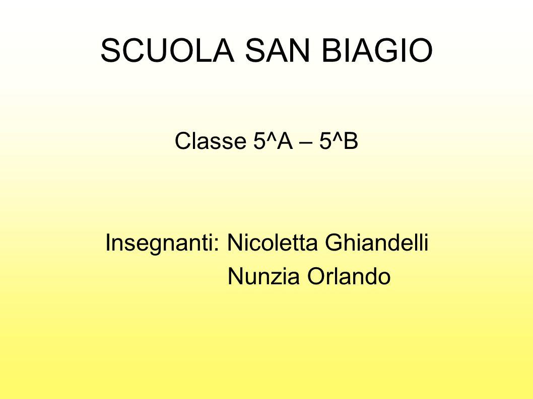 SCUOLA SAN BIAGIO Classe 5^A – 5^B Insegnanti: Nicoletta Ghiandelli Nunzia Orlando
