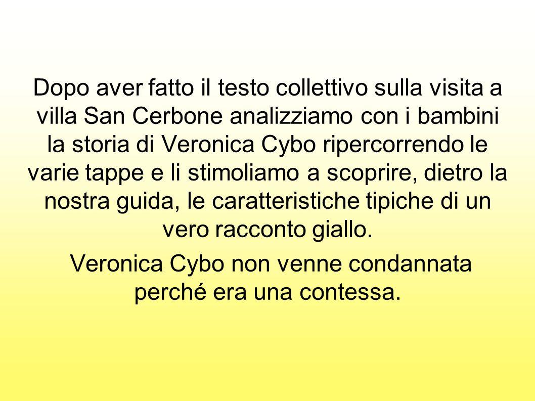 Dopo aver fatto il testo collettivo sulla visita a villa San Cerbone analizziamo con i bambini la storia di Veronica Cybo ripercorrendo le varie tappe