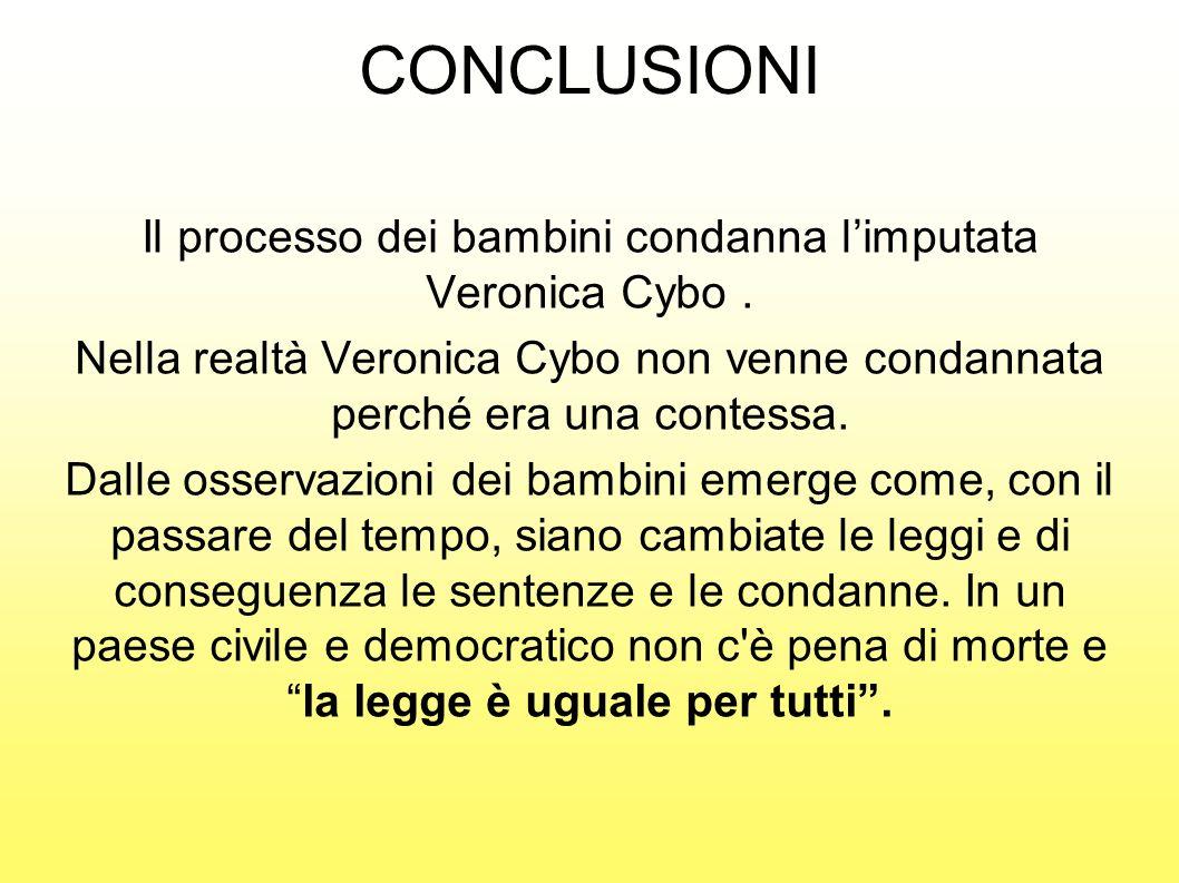 CONCLUSIONI Il processo dei bambini condanna limputata Veronica Cybo. Nella realtà Veronica Cybo non venne condannata perché era una contessa. Dalle o