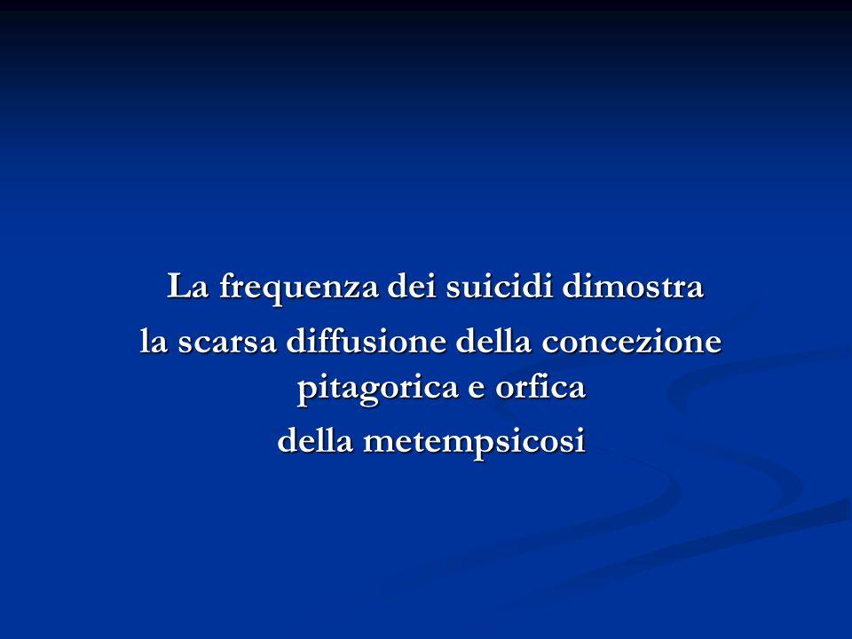 La frequenza dei suicidi dimostra La frequenza dei suicidi dimostra la scarsa diffusione della concezione pitagorica e orfica la scarsa diffusione della concezione pitagorica e orfica della metempsicosi della metempsicosi
