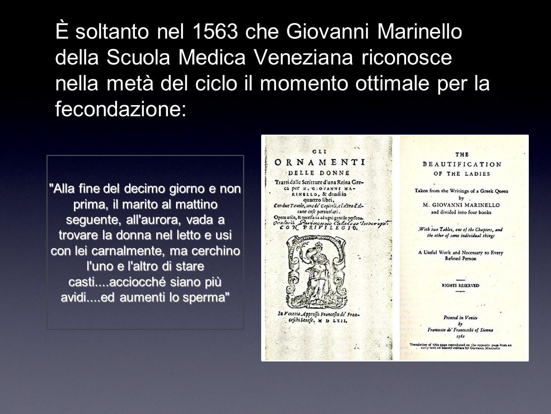 È soltanto nel 1563 che Giovanni Marinello della Scuola Medica Veneziana riconosce nella metà del ciclo il momento ottimale per la fecondazione: