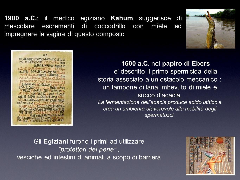 1900 a.C.: il medico egiziano Kahum suggerisce di mescolare escrementi di coccodrillo con miele ed impregnare la vagina di questo composto 1600 a.C. n