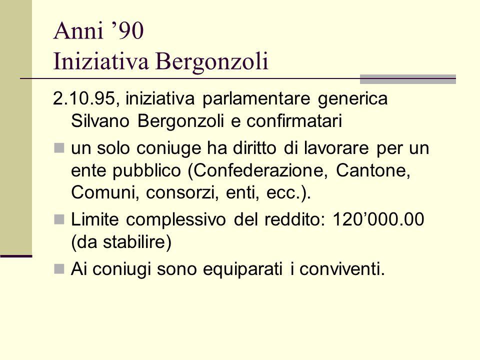Anni 90 Iniziativa Bergonzoli 2.10.95, iniziativa parlamentare generica Silvano Bergonzoli e confirmatari un solo coniuge ha diritto di lavorare per un ente pubblico (Confederazione, Cantone, Comuni, consorzi, enti, ecc.).