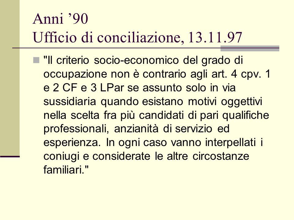 Anni 90 Ufficio di conciliazione, 13.11.97 Il criterio socio-economico del grado di occupazione non è contrario agli art.