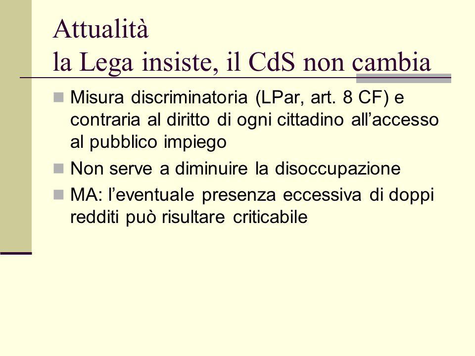 Attualità la Lega insiste, il CdS non cambia Misura discriminatoria (LPar, art.