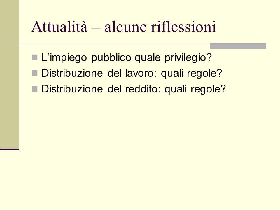Attualità – alcune riflessioni Limpiego pubblico quale privilegio.